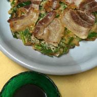 乾燥エノキと米豚、ニラのチジミ